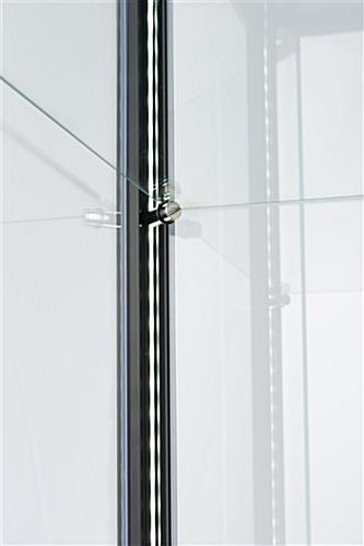 height adjustable black glass curio display cabinet shelves
