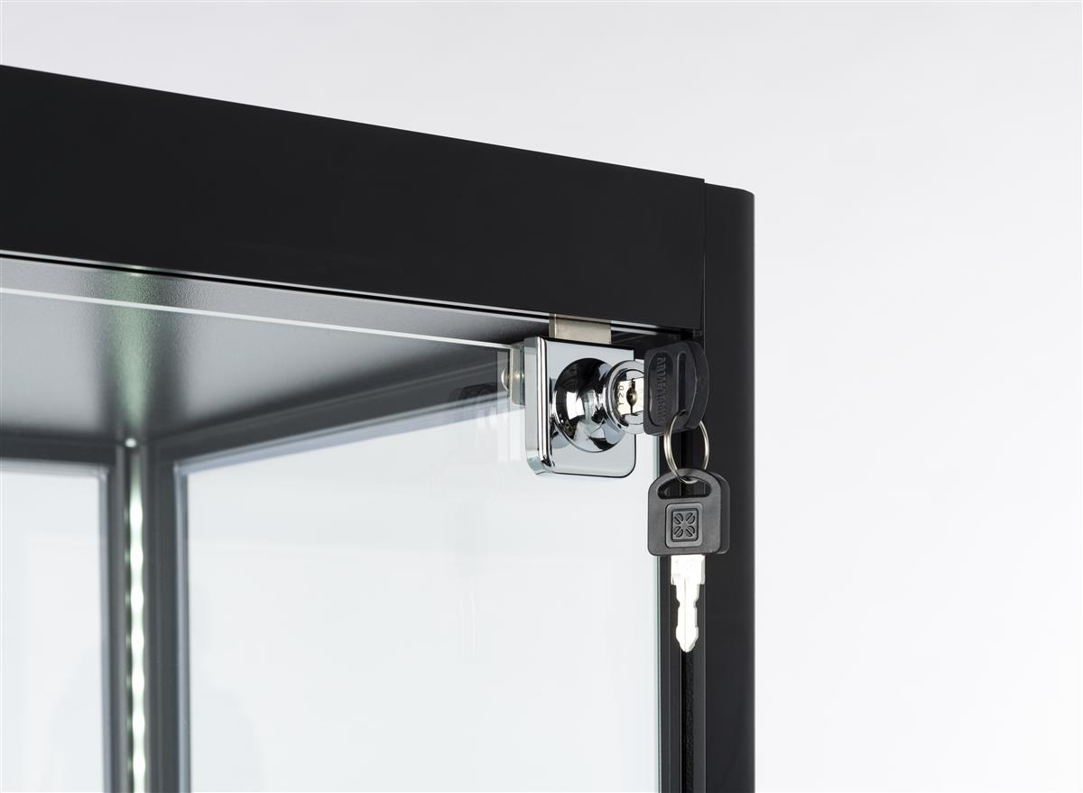 Black Glass Curio Display Cabinet Locking Swing Door 23 5 W