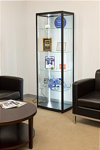 personal or commercial use black glass curio display cabinet