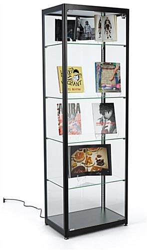 modern-inspired black glass curio display cabinet
