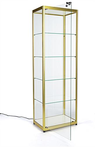 full glass narrow display cabinet with single swing door