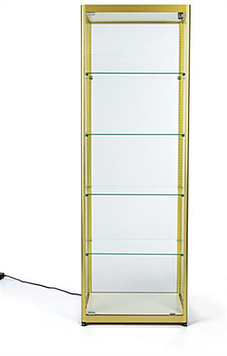 full glass narrow display cabinet allows 360° viewing