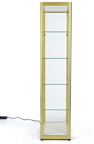 full glass narrow display cabinet with four shelving tiers