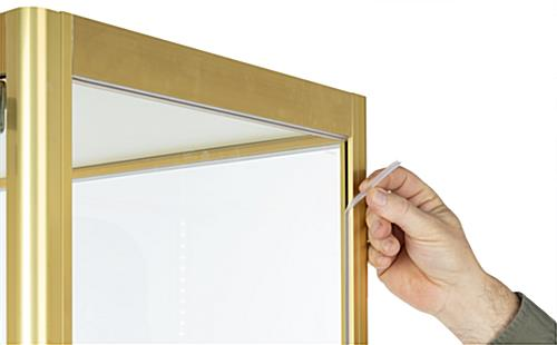 full glass narrow display cabinet with rattle-resisting edge strip
