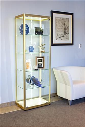 full glass narrow display cabinet for awards and accolades