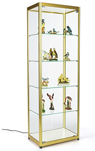 full glass narrow display cabinet with modern aesthetic