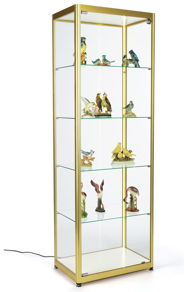 Full Glass Narrow Display Cabinet Adjustable Shelves 23 5 W