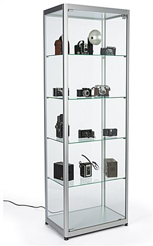 full glass narrow display showcase in contemporary style