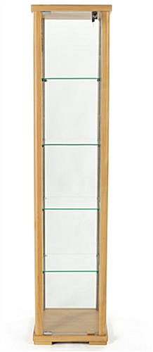 glass curio cabinet tower display is viewable from all sides