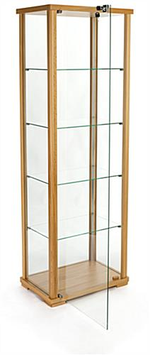 glass curio cabinet display with hinged door