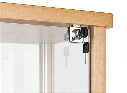 glass curio cabinet display corner lock