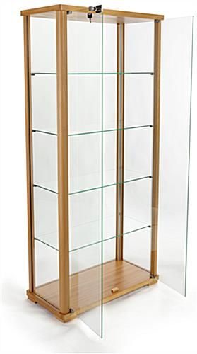 double door tall glass display cabinet