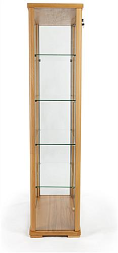tall glass display cabinet with slim footprint