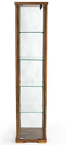 glass tower showcase with four shelves