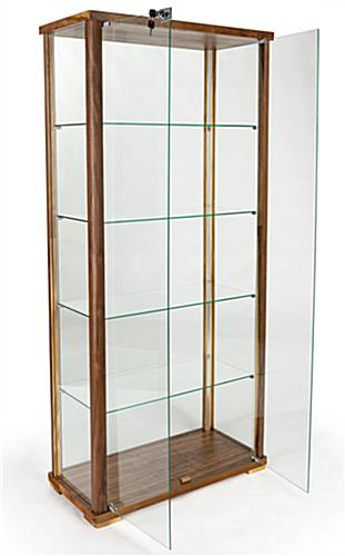 4-shelf glass curio cabinet with two doors