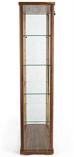 Wide 4-shelf glass curio cabinet