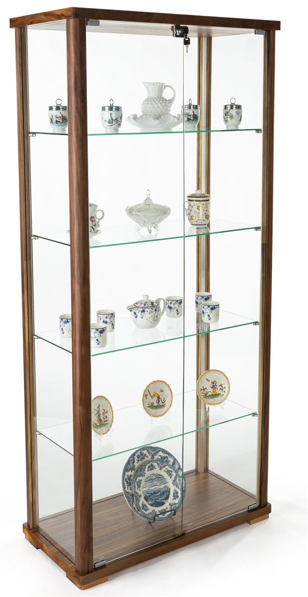 Excellent 31 5 Glass Display Case Adjustable Shelves Locking Ships Unassembled Walnut Download Free Architecture Designs Embacsunscenecom