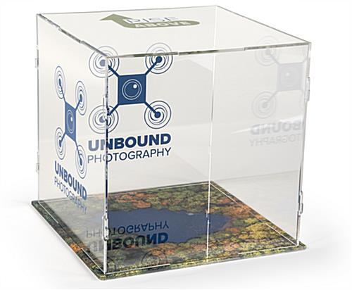 Custom printed folding acrylic display cube with company branding
