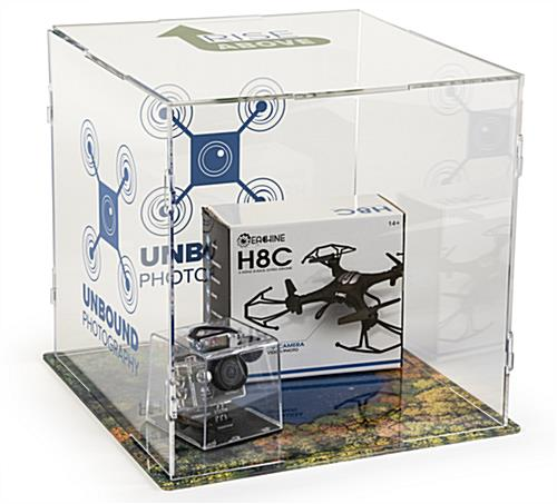 Collapsible custom printed folding acrylic display cube