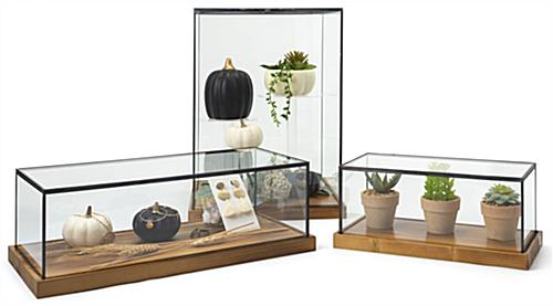Wood glass tabletop keepsake display case with antique finish