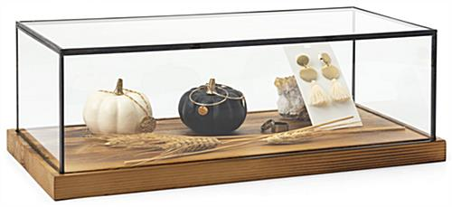 "Wood glass tabletop keepsake display case with 1"" thick base"
