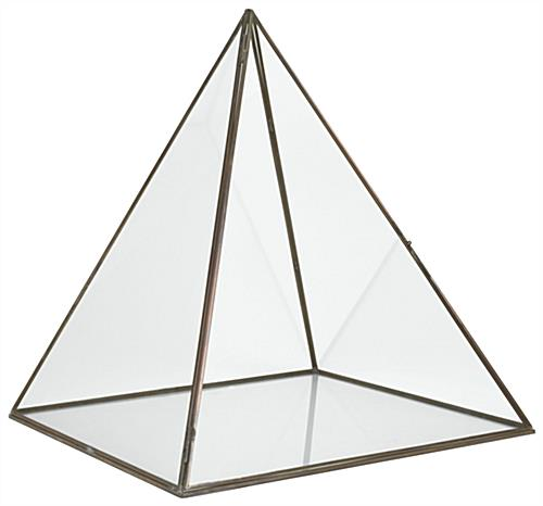 Enclosed large pyramid display box with clear glass panes and base