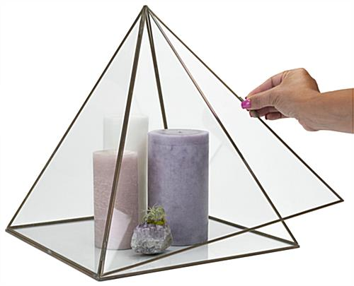 Large pyramid display box with hinged door opening
