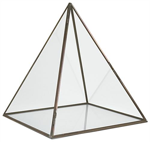 14 inch tall glass pyramid display case