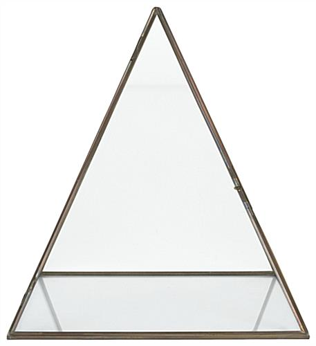 Glass pyramid display case with latch door opening