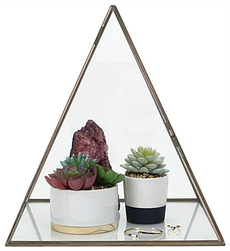 12 inch wide glass pyramid display case