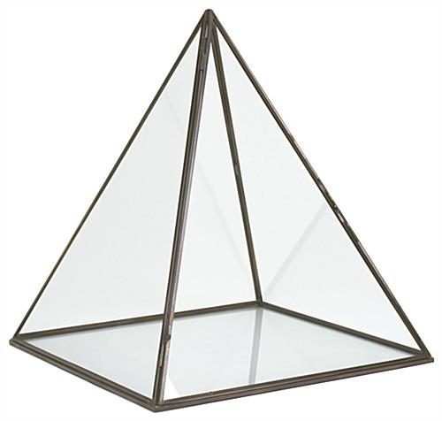 Small glass pyramid box with gold metal accent edge trim