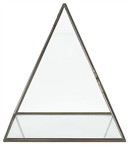 Clear small glass pyramid box with gold frame