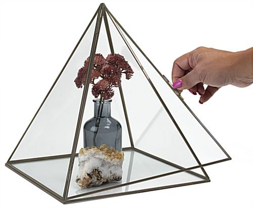 Small glass pyramid box with swing open latch door