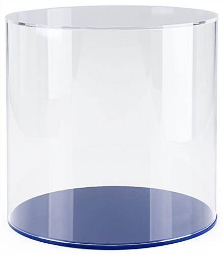 "Round collectible display case with 12"" overall height"