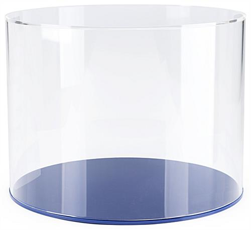 "Blue 16"" round display case base for DCR series holds an easy lift-off style cover"