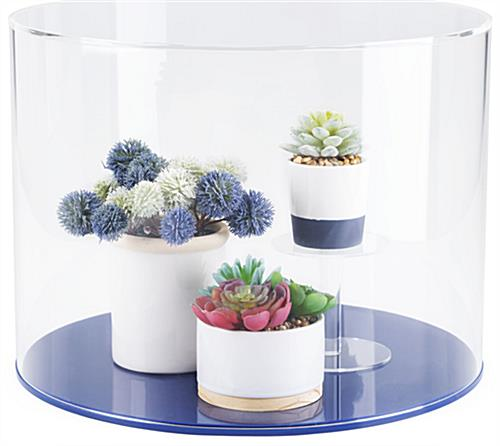 "Clear acrylic round cylinder display case with 12"" overall height"