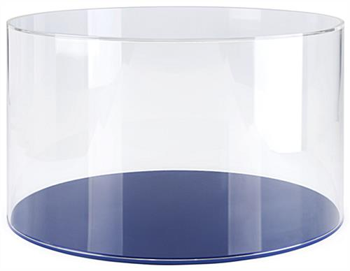 Round display case with blue base made of durable acrylic