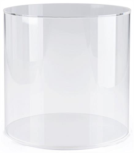 "Round acrylic display case with 0.5"" high white base"