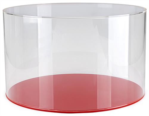 "20"" red DCR series round plastic display case base with lift-off cover"