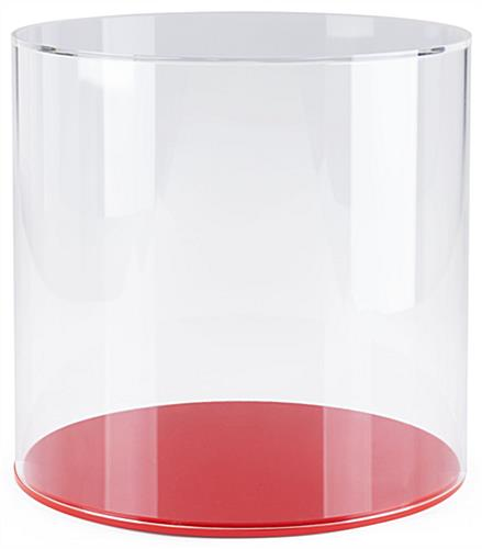 Round countertop display case with clear acrylic lift-off top