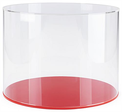 "DCR series 16"" diameter red lucite display base for cylinder shaped acrylic showcase"