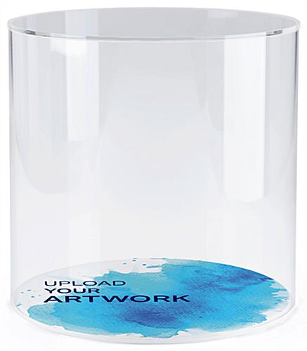 Round plastic cylinder display case with printed base