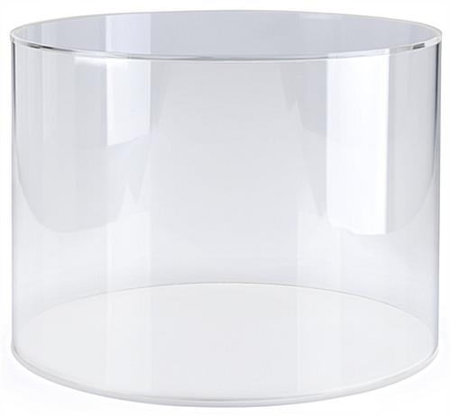 Acrylic round countertop display case with convenient lift-off loading style