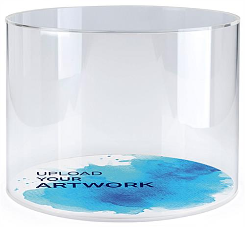 Full color branded round acrylic countertop display case
