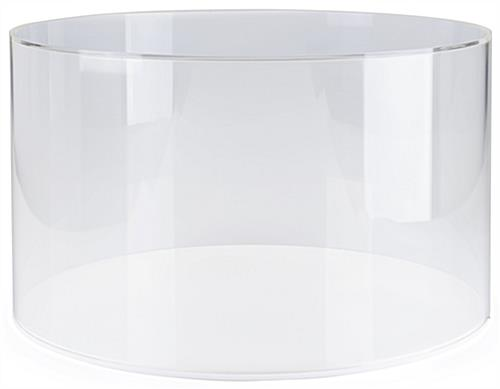 Round plexiglass display case with easy lift-off style cylinder cover