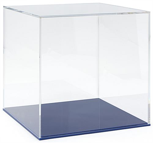 "12"" DCS series blue acrylic square display base with sleek and simple design"