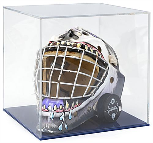 Ball display case with clear acrylic lift-off top