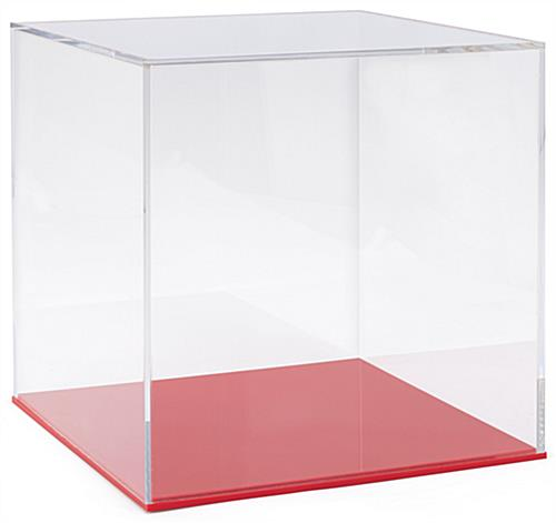 "12"" square red acrylic display base holds clear cover in place"