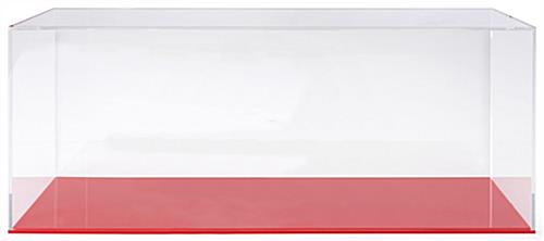 Red acrylic large display case base for DCS series with groove in base to firmly hold clear cover