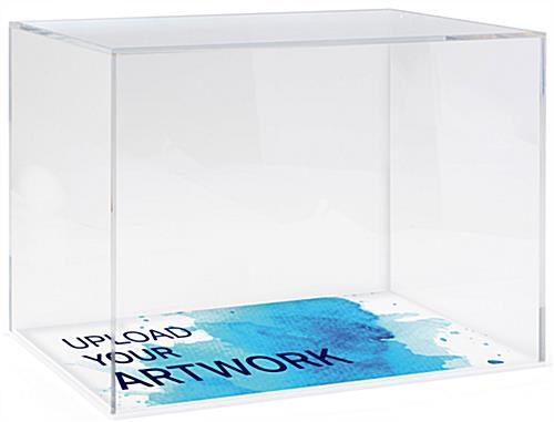 Acrylic display box case with branded base in full color